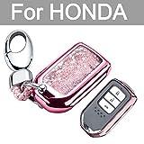 YIJINSHENG TPU Car Key Soft Plating Protection Shell Case Cover for Honda Civic - Accord - CR-V - Pilot Smart Key Keyless Remote FOB Shell Key Chains (Pink)
