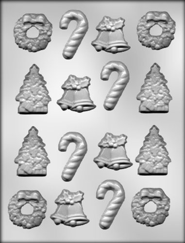 CK Products Christmas Tree, Bells, Wreath, and Candy Canes Chocolate - Candy Mold Wreath