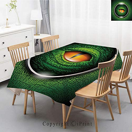Premium Linen Printed Tablecloth,Ideal for Grand Events and Regular Home Use,Machine Washable,55x79 Inch,Eye,Vibrant Realistic Eye of Reptile Animal Natural Wildlife Scales Crocodile Look Decora