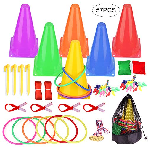 Faburo 3 in 1 Carnival Combo Games Set, Sports Party Games Set Plastic Cone Cornhole Bean Bags Ring Toss Game Three-Legged Race for Kids Carnival Birthday Indoor Outdoor Party Game Supplies, 57-Pack (Birthday Party Games For 4 Year Olds Indoors)