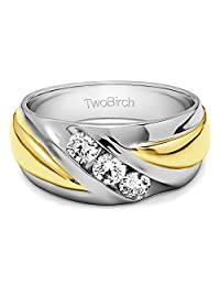 10k Two Tone Gold Gents Wedding Ring Charles Colvard Moissanite(0.52Ct)Size 3 To 15 in 1/4 Size Intervals