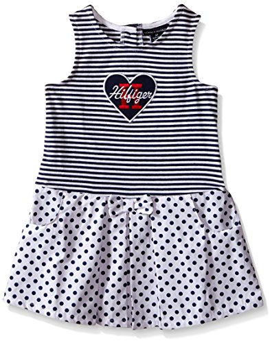 Tommy Hilfiger Baby-Girls Yarn Dyed Stripe Jersey Dress, Navy, 0-3 Months