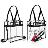 "Clear Cross-Body Messenger Shoulder Zippered Bag w Adjustable Strap, NFL & PGA Stadium Security Approved Travel & Gym Clear Tote Bag-12"" X 12"" X 6""(TWO Bags)"