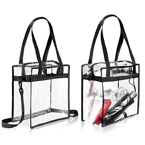 "Clear Sport - Clear Bags NFL & PGA Stadium Approved - The clear tote bag with zipper closure is perfect for work, sports games.Cross-Body Messenger Shoulder Bag w Adjustable Strap -12"" X 12"" X 6"" (Two Bag)"