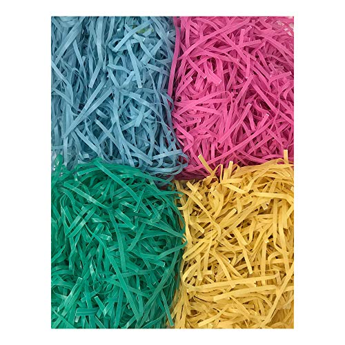 Brightly Colored Plastic Easter Grass for Easter Basket or Party Decoration - 6 Piece Bundle