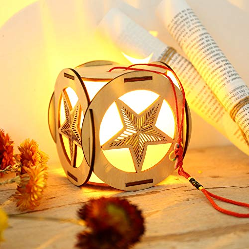 Pointed Finial - Ketuan Simple LED Light War Creative Five-Pointed Star Wooden DIY Chinese Knot Hanging Lantern (Brown)