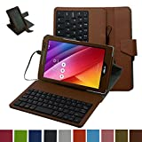 """ASUS Zenpad 8.0 Z380C Micro USB Keyboard Case,Mama Mouth Rotary Stand PU Leather Case Cover With Removable Micro USB Keyboard for 8"""" Asus ZenPad 8.0 Z380C Z380KL Android Tablet,Brown"""