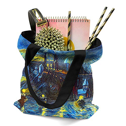 Westlake Art - Starry Night Castle Night Boats - Tote Bag - Abstract Artwork Shopping Gym Work Potter Harry - 16x16 Inch