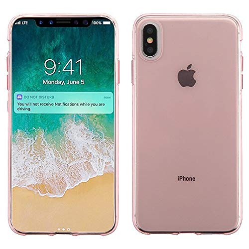 for iPhone Xs Max Glossy Transparent Rose Gold Sleek Candy Skin Phone Cover