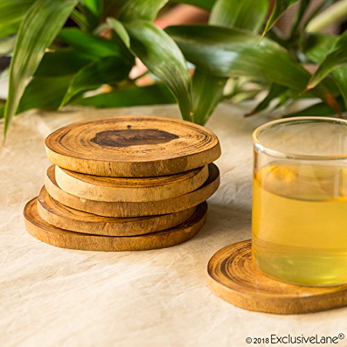 ExclusiveLane Round Wooden Handcrafted Coasters Set for Dining Table Cum Tea Coasters (Brown, Set of 6) Price & Reviews