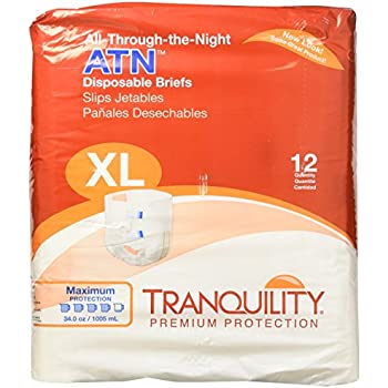 Tranquility ATN™ (All-Through-the-Night) Adult Disposable Briefs - XL - 12 ct