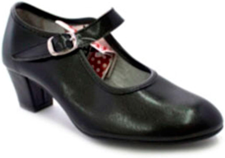 Zapato Baile de tacón para niña y señora Carolina Guillo en Negro