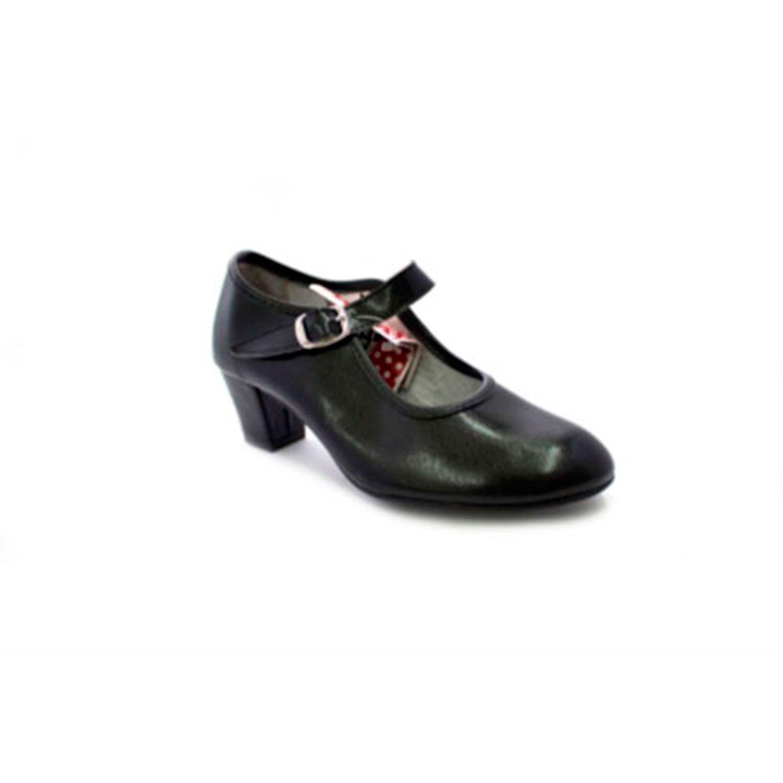 Zapato baile de tacón para niña y señora Carolina Guillo negro