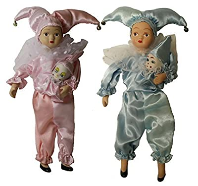Duo Porcelain Dolls Jester 9 Inches Pink and Blue, Perfect for Christmas or Birthday Gift