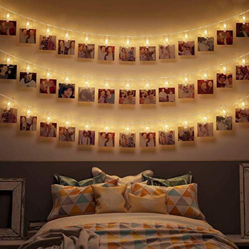 Neretva 40 Photo Clips String Lights Battery Operated Fairy String Lights with Clips for Hanging Photo Holder, Cards, Artwork, Dorm Wall Bedroom Decorations -