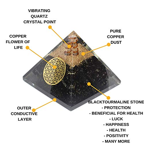 (Orgone Pyramid - Reiki Healing Emf Protection Energy Generator - Black Tourmaline Crystal Orgonite Pyramid for Chakra Balance - Panic Attacks Protection Inner Strength Meditation Booster)