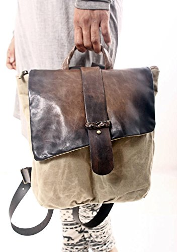 Handmade Stylish Waterproof Beige Canvas and Brown Leather Backpack, Unisex Gift for Traveler by Ruth Kraus