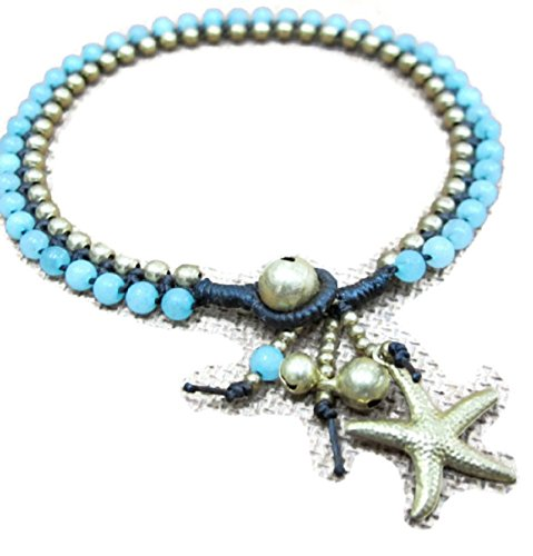 Hot! 100% Handmade Thailand Charm Anklet - Beaded Amazonite Ankle Bracelet with Starfish in Brass Bead for Party, Wedding, Birthday, Anniversary, Gift, Daily Wearing and More!