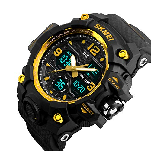 Multifunction Watch Dial (Mens Analog Digital Watch - LED 50M Waterproof Outdoor Sport Watches Military Multifunction Casual Dual Display 12H/24H Stopwatch Calendar Wrist Watch-Gold …)