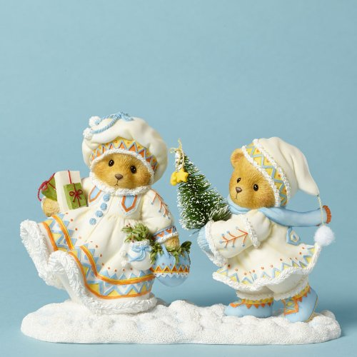 Cherished Teddies Anna and Carl Carrying Tree Laplander Bear Christmas Figurine