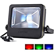 RGB Flood Light Spotlight, 50 watts LED Security Floodlight, UL listed Plug, 16 Colors Changing and 6 Levels Adjustable Brightness Outdoor Light by LOFTEK, NOVA S Series, Black