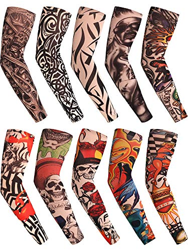 Chinco Fake Temporary Tattoo Sleeves UV Protection Arm Sleeve Cool Body Arts Tattoo Sleeves for Women Men Party Outdoor Activities Supplies (Set 3, 10 Pieces)