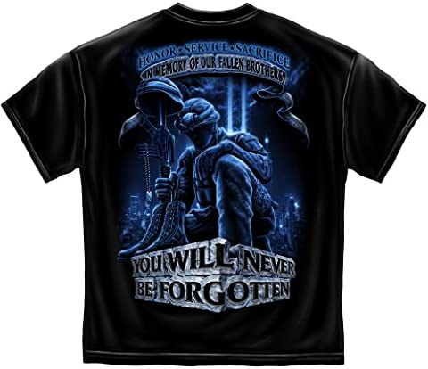Patriotic Short Sleeve Shirts, 100% Cotton Casual Mens Shirts, Show Your Pride with our Patriotic Soldiers Cross Momorial Never Forget our Fallen Soldiers Unisex T-Shirts for Men or Women (Fallen Soldiers Cross)