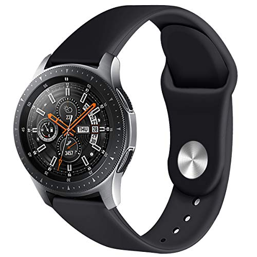 Compatible with Galaxy Watch Bands 46mm,Gear S3 Bands, 22mm Soft Silicone Sport Strap Replacement Bracelet Wristbands Compatible with Samsung Galaxy Watch 46mm SM-R800 Smart Watch Black Pink(Black)