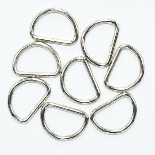 sacoora Metal D Ring 1 inch Non Welded Nickel Plated Pack of 25