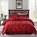 MeiLa Pintuck Design Luxury Comfy Bedding Set Bed-in-a-Bag 7-Pieces Warm Pinch Pleat Comforter Sets For Winter (Queen, Burgundy)