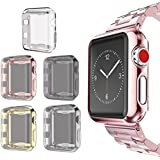 Compatible for Apple Watch 3 Case 38mm Screen Protector, SIRUIBO Soft TPU Slim All-Around Protective Bumper Cover Compatible for Apple iWatch Series 3 Series 2 Series 1 Edition Sport Nike+ (5 Pack)