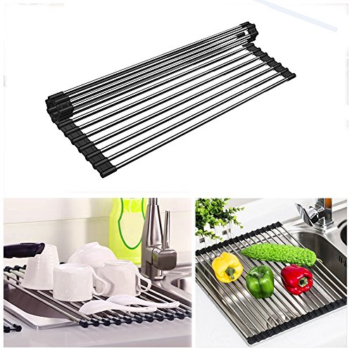 Dish Drying Rack Over the Sink Roll -Up Foldable Mat,Homeya