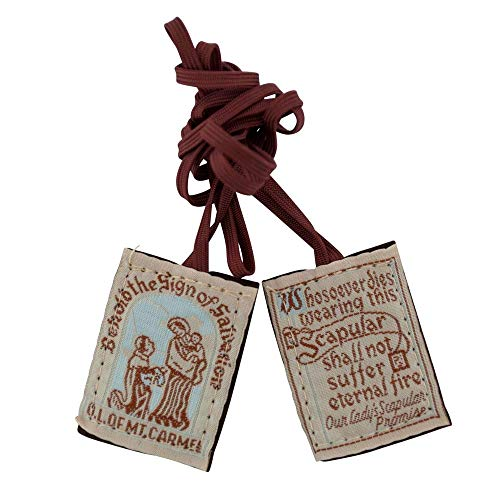 VILLAGE GIFT IMPORTERS Traditional Simple Brown Scapulars | 100% Wool | 3 Styles | Brown Straps White Straps or with Medals | Italian Made | Christian Jewelry (Brown ()