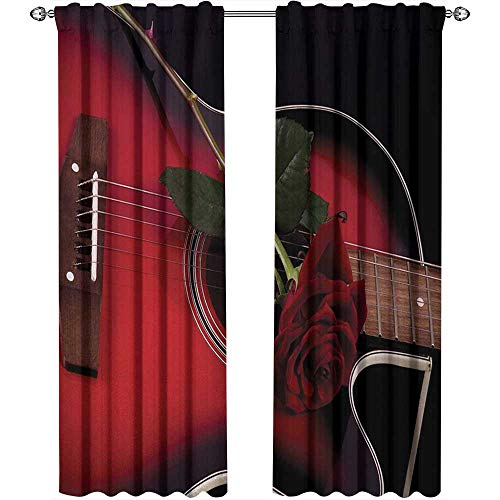 Red and Black, Curtains Unique, Spanish Musician Portugal Hand Made Guitar with Romance Theme Love Rose, Curtains Kitchen Window, W84 x L96 Inch, Ruby and White