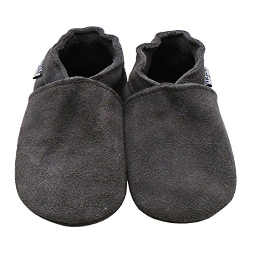 Mejale Baby Infant Toddler Shoes Anti-Slip Soft Soled Suede Leather Moccasins Pre-Walker Multi-Colors (5-6 US Infants/6-12 Mo./5.1 in, Grey)
