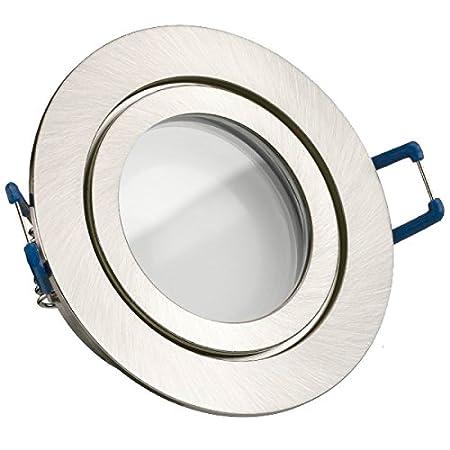 3er IP44 LED Einbaustrahler Set Silber geb/ürstet mit LED GU10 Markenstrahler von LEDANDO A+ warmweiss 35W Ersatz Feuchtraum // Badezimmer LED Spot 5 Watt rund 5W DIMMBAR 110/° Abstrahlwinkel