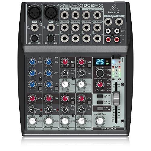 Behringer Xenyx 1002FX Premium 10-Input 2-Bus Mixer with XENYX Mic Preamps, British EQs and Multi-FX Processor
