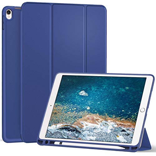 Ztotop iPad Pro 10.5 Case with Pencil Holder, Ultra Slim Soft TPU Back and Trifold Stand Cover, Auto Sleep/Wake Full Body Protective Case for 2017 New Apple 10.5 Inch iPad Pro(A1701/A1709) Navy Blue
