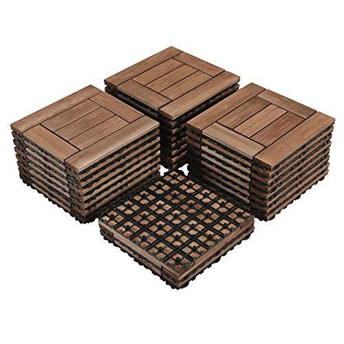 Yaheetech 27PCS Wood Flooring Decking Deck Tiles Interlocking Patio Pavers Dance Bathroom Shower Floor Tiles Solid Wood and Plastic Indoor Outdoor 12 x 12in Brown (The Best Decking Material)