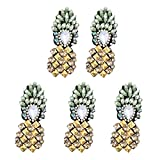 Vosarea 5pcs Rhinestones Patches sew on Pineapple Beaded Patch Clothing Iron on Applique Clothes Apparel Patch