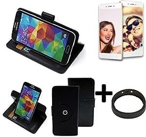 TOP SET: 360° Funda Smartphone para Oppo F1, negro + anillo protector | Función de stand Caso Monedero BookStyle mejor precio, mejor funcionamiento - K-S-Trade