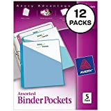 Avery Binder Pockets, Assorted Colors, 8.5'' x 11'', Acid-Free, Durable, 60 Total Slash Jackets, 12 Packs (75254)