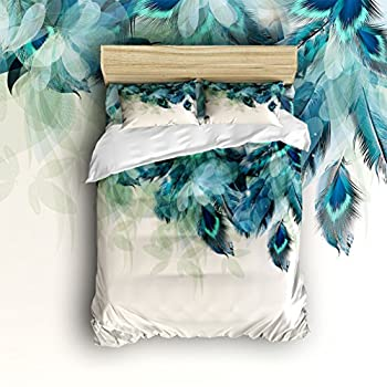 Image of Anzona 4 Piece Bedding Set Lightweight Microfiber Duvet Cover Sets, Artistic Hand Painted Peacock Feathers Design, Comfortable Breathable and Soft Comforter Cover Set for Children/Kids/Teens/Adults Home and Kitchen
