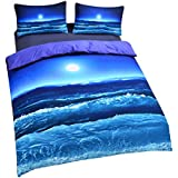 Sleepwish Deep Sleep Duvet Cover Set Home Textile Moon And Ocean Bedding Cool 3D Vivid Print Soft Blue Bed Spread Queen Size