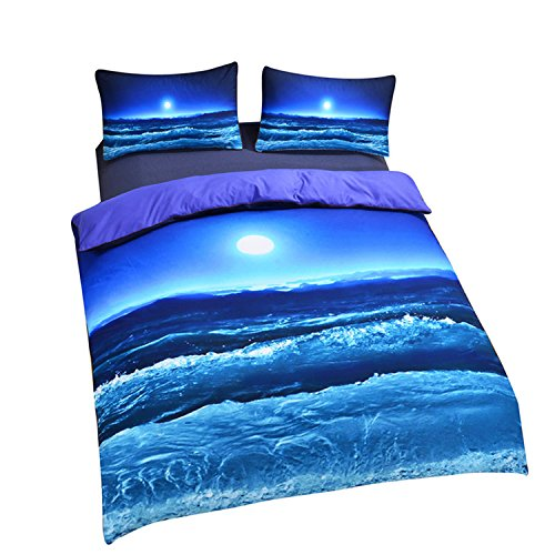 Full Size Traditional Bed (Sleepwish Deep Sleep Duvet Cover Set Home Textile Moon And Ocean Bedding Cool 3D Vivid Print Soft Blue Bed Spread Full Size)