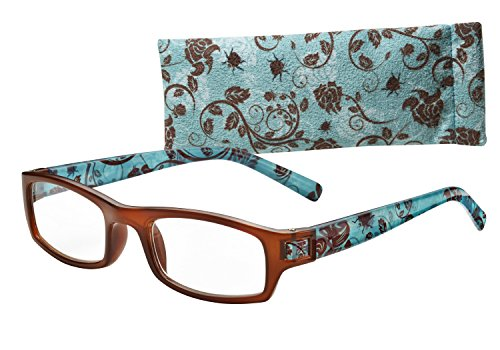 Wink Fun Medium Rectangle Reading Glass with Brown Face, Blue Floral Temple Tip and Matching Case, +2.50, 0.200 - Eyewear Fun