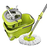 Linbing123 Spin Mop Bucket with Wringer On Wheels, Hardwood Floor Cleaning System, with 3 Microfiber Mop Refills, Hand-Free mop Bucket
