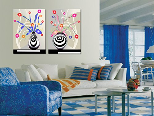 Yimei Art Canvas Painting Creative Vase 2 Panels Wall Art Picture for Home Decor Print Giclee Artwork for Wall (Custom Angel Wings Costume)