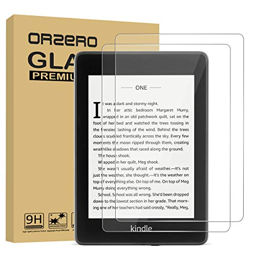 [2 Pack] Orzero ONLY For All New Kindle Paperwhite 10th Generation 2018 Tempered Glass Screen Protector, 9 Hardness HD Anti-Scratch Full-Coverage [2.5D Arc Edges] [Lifetime Replacement Warranty]