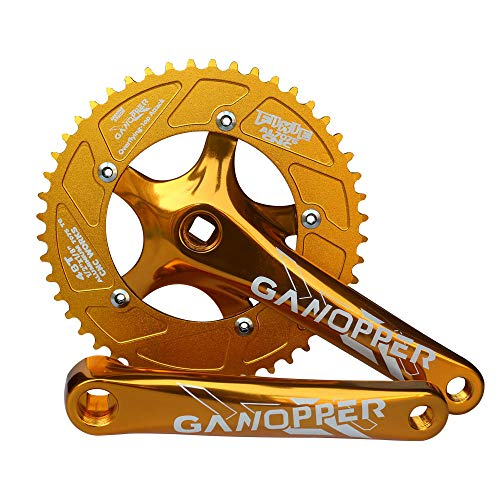 GANOPPER 48T Removable Chainwheel One Forged 1X 2X System Dual Single Fixie Road Track Bike Crankset 175mm Arm Length 130 BCD Easy Refit Dual Chainring Crank Set (Yellow) ()